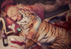 1boy alcohol arrow blonde_hair boots bottle broken_glass brown_boots couch cup dio_brando drinking_glass glass jojo_no_kimyou_na_bouken lying male_focus on_stomach open_mouth orange_eyes pillow sharp_teeth solo spill syringe table takashi_(huzakenna) teeth tiger wine wine_bottle wine_glass