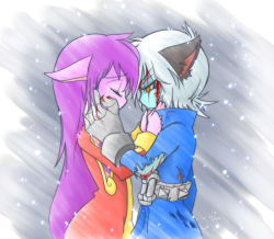 1boy 1girl animal_ears blood blue_hair blue_skin eyes_closed gloves hands_on_another's_face injury league_of_legends lulu_(league_of_legends) no_hat pointy_ears purple_hair purple_skin snowing tears torn_clothes veigar wiping_tears yan531 yellow_eyes