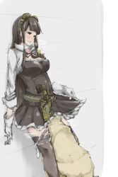 1girl against_wall belt bestiality black_hair black_legwear blush breasts brown_eyes cleavage copyright_request cunnilingus dog dress frilled_dress frilled_legwear frills glasses gloves goggles goggles_on_head granblue_fantasy gun handgun holding holster jessica_(granblue_fantasy) legwear long_hair long_sleeves looking_down neck_ribbon oral p_(tidoriashi) panties panties_around_leg pistol ribbon skirt_hold standing steam sweat sweatdrop tagme thighhighs trembling underwear weapon white_gloves white_panties zettai_ryouiki