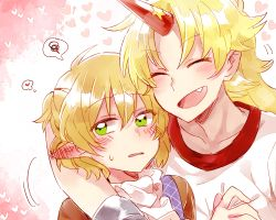 2girls ^_^ annoyed arm_around_neck blonde_hair blush ear_blush embarrassed eyes_closed green_eyes gym_shirt heart horn hoshiguma_yuugi hug long_hair mizuhashi_parsee multiple_girls oni pointy_ears shirt short_hair simple_background six_(fnrptal1010) smile spoken_squiggle squiggle thinking touhou tsundere