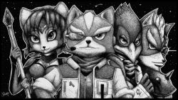 1girl 3boys artist_name falco_lombardi fox_mccloud krystal miiverse multiple_boys nintendo space staff star_fox wolf_o'donnell