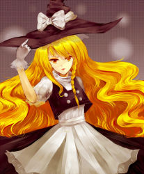 1girl apron blonde_hair bow braid eyeshadow gloves hat hat_bow holding holding_hat kirisame_marisa lipstick long_hair makeup puffy_short_sleeves puffy_sleeves shokujin_hatefukuchuu short_sleeves side_braid simple_background solo touhou turtleneck very_long_hair vest waist_apron wavy_hair white_gloves witch_hat yellow_eyes