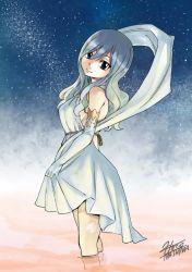 1girl blue_hair fairy_tail gradient_background juvia_loxar looking_at_viewer mashima_hiro night_sky official_art sideboob solo star_(sky) tanabata tattoo water
