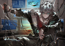 1boy aqua_eyes chains computer glowing glowing_eyes jewelry kawacy male_focus monitor ring silver_hair solo susanghan_messenger tattoo unknown_(susanghan_messenger)