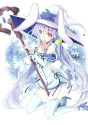 1girl animal_hat bare_shoulders blue_legwear bunny_hat collarbone detached_sleeves dress female hat high_heels hizaka kneeling long_hair looking_at_viewer low_twintails necktie original pink_eyes short_dress solo staff thighhighs twintails very_long_hair witch_hat