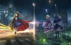 3girls black_legwear blonde_hair brown_hair cape city crosswalk dress fireflies from_behind full_moon glasses grass hand_holding hand_on_headwear hand_on_own_chest hands_in_sleeves hat hat_ribbon highres kimi_no_na_wa kneehighs levitation looking_at_viewer maribel_hearn mob_cap moon multiple_girls night outdoors pantyhose parody patterned_clothing puddle purple_dress ribbon ruins runes school_uniform short_hair signature skirt skirt_set split_screen star_(sky) stream touhou usami_renko usami_sumireko white_legwear wide_sleeves you_(shimizu)