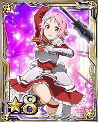 1girl arm_up bow bowtie breastplate card_(medium) dress hair_ornament hairclip holding holding_weapon lisbeth number one_leg_raised pink_hair red_dress red_eyes short_hair solo striped striped_bow sword_art_online thigh_strap warhammer weapon