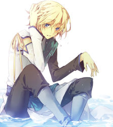 1boy asymmetrical_clothes blonde_hair boots detached_sleeves fay_d_flourite hand_on_head male maro_(nikeneko523) pants short_hair sitting solo tsubasa_chronicle water wet white_background