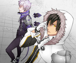 2boys add_(elsword) black_hair copyright_name daizu_yan elsword facial_mark gloves grey_background grin hoodie jacket male multiple_boys pants purple_eyes raven_(elsword) smile tattoo white_hair yellow_eyes