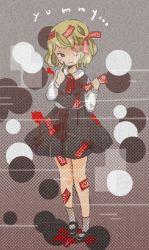 1girl blonde_hair bow hair_bow hair_ribbon ofuda one_eye_closed onigiri_(ginseitou) red_eyes ribbon rumia short_hair skirt smile solo touhou