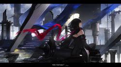 1girl bare_shoulders black_hair long_hair original pixiv_fantasia pixiv_fantasia_t red_eyes scarf solo swd3e2 thighhighs