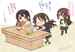 >_< 3girls :> akagi_(kantai_collection) ashigara_(kantai_collection) black_hair blush brown_eyes brown_hair chopsticks eating hair_ornament hairband kantai_collection kisaragi_(kantai_collection) long_hair multiple_girls open_mouth outstretched_arms pantyhose renta_(deja-vu) rice_bowl school_uniform serafuku sitting standing table thighhighs translation_request wavy_hair