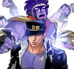 1boy afterimage aqua_eyes black_hair chains frown gakuran hat hat_over_one_eye jojo_no_kimyou_na_bouken kuujou_joutarou male_focus punching school_uniform stand_(jojo) star_platinum upper_body ziguck