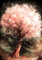 1boy artist_name brown_hair cherry_blossoms hakama haori highres japanese_clothes noeyebrow_(mauve) original rope shimenawa short_hair solo tree