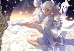 2girls achyue archer_(dragon_nest) arm_support bare_shoulders blue_eyes bridal_gauntlets dragon_nest feather_trim feathers looking_back multiple_girls parted_lips pointy_ears profile short_hair sitting star thighhighs tiara wariza white_hair