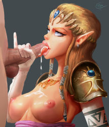 1boy 1girl blonde_hair blue_eyes breasts causticcrayon couple cum cum_in_mouth fellatio grey_background handjob licking_penis nintendo nipples oral penis pinky_up pointy_ears princess_zelda simple_background solo_focus the_legend_of_zelda tiara tongue twilight_princess uncensored