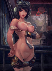1girl areolae black_hair blue_eyes breasts causticcrayon collarbone fingerless_gloves goggles goggles_on_head helmet lips loosum_hagar nipples nude pants_down pussy rage solo standing uncensored undressing