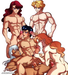 5boys abs anal artist_name bara bishoujo_senshi_sailor_moon black_hair blonde_hair blue_eyes brown_hair chiba_mamoru cum cumdrip fellatio gangbang green_eyes grin group_sex happy_sex jadeite_(sailor_moon) kunzite_(sailor_moon) licking long_hair multiple_boys muscle nephrite_(sailor_moon) nude orgy pecs penis phausto ponytail sex silver_hair simple_background smile tagme testicles uncensored watermark web_address white_background yaoi zoisite_(sailor_moon)