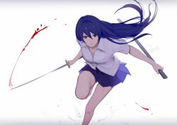 1girl bangs blood bloody_weapon blue_hair bon_nob brown_eyes collarbone fighting katana long_hair looking_at_viewer love_live!_school_idol_project pleated_skirt serious shirt signature skirt solo sonoda_umi sword weapon white_shirt
