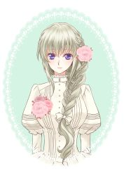 1girl alternate_costume alternate_hair_color alternate_hairstyle blush bow braid code_geass code_geass:_boukoku_no_akito dress flower front_braid grey_hair hair_bow hair_flower hair_ornament juliet_sleeves komaichi leila_(code_geass) long_hair long_sleeves looking_at_viewer puffy_sleeves purple_eyes single_braid smile solo upper_body white_bow white_dress