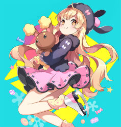 1girl :o ahoge alternate_costume animal animal_ears animal_hat aqua_background bangs black_bow blonde_hair blue_background blush bow buneary bunny_ears candy closed_mouth crossover doughnut dress fake_animal_ears food from_side fur_trim hat hat_bow hat_with_ears holding holding_animal ice_skates jacket leg_lift leg_warmers light_smile long_hair long_sleeves looking_at_viewer looking_back mayu_(vocaloid) orange_eyes pink_bow pink_dress pokemon pokemon_(creature) pokemon_(game) pokemon_dppt polka_dot pom_pom_(clothes) short_dress skates smile star stellarism striped vertical_stripes very_long_hair vocaloid white_bow
