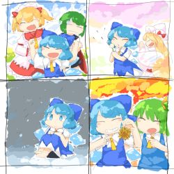 5girls antennae ascot autumn barefoot black_cape blonde_hair blowing blue_bow blue_dress blue_eyes blue_hair blush_stickers bow chestnut cirno comic daiyousei dandelion dress eyes_closed fairy_wings female flower frilled_shirt_collar frilled_skirt frills green_hair hair_bow hat hat_bow headdress ice ice_wings lily_white lonely long_hair multiple_girls nature orange_hair outdoors plant puffy_short_sleeves puffy_sleeves red_bow seasons short_hair short_sleeves sitting skirt sky snow snowing spring_(season) summer sunny_milk touhou twintails white_dress white_hat wings winter wriggle_nightbug yaise