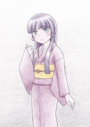 1girl black_hair gokou_ruri highres japanese_clothes kimono long_hair official_style ore_no_imouto_ga_konna_ni_kawaii_wake_ga_nai purple_eyes sakaki_youma traditional_media yukata