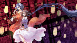 2girls alternate_costume bangle biwa_lute bracelet brown_hair corset detached_sleeves dress earrings fingernails floral_background flower guiguzi hair_flower hair_ornament hairband highres instrument jewelry long_hair lute_(instrument) multiple_girls musical_note open_mouth purple_eyes purple_hair short_hair siblings sisters smile touhou tsukumo_benben tsukumo_yatsuhashi twintails