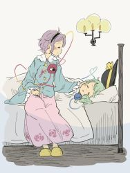 2girls bed black_hat blanket blue_shirt blush_stickers candle candlelight chii-kun_(seedyoulater) eyes_closed green_hair hairband hand_on_another's_face hat hat_ribbon heart-shaped_buttons komeiji_koishi komeiji_satori long_skirt multiple_girls on_bed pillow pink_skirt purple_eyes purple_hair ribbon shirt siblings silver_background sisters sitting sitting_on_bed skirt sleeping slippers third_eye touhou wide_sleeves