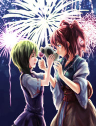2girls aerial_fireworks candy_apple eyes_closed fireworks glowing green_hair hair_bobbles hair_ornament kitsune_maru mask multiple_girls no_hat no_headwear onozuka_komachi open_mouth profile red_eyes red_hair shiki_eiki short_sleeves short_twintails smile touhou twintails wide_sleeves