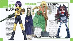 4girls ass backbeard_(monster_musume) blonde_hair boots braid breasts brown_hair cleavage cyclops cyclops_(monster_musume) dark_skin elbow_pads gloves green_eyes green_hair gun hammer highres inui_takemaru knee_pads kono_lolicon_domome large_breasts long_hair manako monster_musume_no_iru_nichijou multiple_girls naked_overalls nun official_art one-eyed one-eyed_monk_(monster_musume) overalls purple_eyes purple_hair red_eyes rifle sniper_rifle striped striped_legwear thighhighs translation_request twin_braids twintails uniform weapon