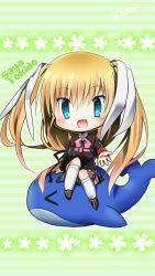 >_< 1girl blonde_hair blue_eyes chibi little_busters! long_hair miyoshi_yun riding school_uniform tokido_saya twintails whale