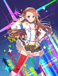 1girl :d blush brown_eyes brown_hair flower hair_flower hair_ornament hand_on_hip idolmaster idolmaster_movie long_hair minase_iori open_mouth red_eyes redrop skirt smile solo starpiece_memories thighhighs v