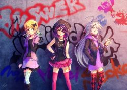 3girls ahoge armband blonde_hair blush boots bow braid brown_eyes casual choker dress ear_piercing eyepatch fang frilled_legwear frilled_skirt frills graffiti grey_eyes grey_hair grin hair_bow hair_ornament hairclip hand_in_pocket hand_on_hip hand_on_own_chest hayasaka_mirei highres hood hoshi_shouko idolmaster idolmaster_cinderella_girls idolmaster_cinderella_girls_starlight_stage jacket jewelry leather leather_jacket long_hair long_sleeves looking_at_viewer looking_away morikubo_nono multicolored_hair multiple_girls nail_polish necklace nemuko_(minkoooozzz) piercing purple_hair ring shirt short_hair single_braid skirt sleeveless sleeveless_shirt smile thighhighs two-tone_hair very_long_hair wavy_hair zettai_ryouiki zipper