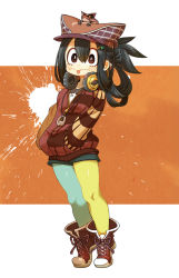 1girl :> :p alternate_costume alternate_hairstyle animal animal_on_head ankle_boots asui_tsuyu asymmetrical_legwear black_hair black_legwear blue_legwear blush boku_no_hero_academia boots brown_eyes chaki_(teasets) cross-laced_footwear fashion frog full_body gradient_background hair_ornament hair_up hairclip hands_in_pockets hat headphones headphones_around_neck highres hoodie jewelry lace-up_boots long_hair long_sleeves mismatched_legwear necklace pantyhose shorts solo standing tiptoes tongue tongue_out yellow_legwear