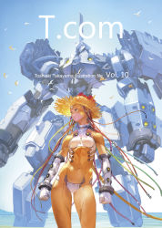1girl android bird bodysuit cover gloves green_eyes hat highres machine mecha navel original platinum_blonde robot science_fiction short_hair source_request straw_hat toshiaki_takayama water wire
