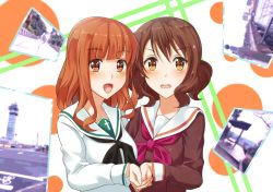 2girls black_neckerchief brown_eyes brown_hair brown_serafuku crossover girls_und_panzer hibike!_euphonium kumatsugawa long_hair looking_at_viewer multiple_girls neckerchief open_mouth orange_hair oumae_kumiko photo_(object) red_neckerchief school_uniform serafuku short_hair takebe_saori upper_body