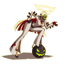 1girl ankh ball_and_chain_restraint bellbottoms belt bent_over bodysuit breasts cleavage full_body gloves green_eyes guilty_gear guilty_gear_xrd halo hand_on_hip jack-o_(guilty_gear) jewelry leaning_forward liyart long_hair mask multicolored_hair necklace solo two-tone_hair white_hair