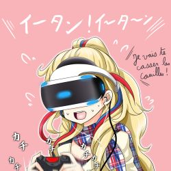 1girl blonde_hair blue_hair commandant_teste_(kantai_collection) controller earphones flying_sweatdrops french game_controller kantai_collection long_hair motion_blur multicolored multicolored_clothes multicolored_hair multicolored_scarf no_hat no_headwear pink_background plaid plaid_scarf playstation_vr ponytail red_hair resident_evil resident_evil_7 scarf solo streaked_hair sweat tk8d32 vr_visor white_hair