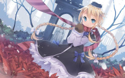 1girl blonde_hair blue_eyes bow braid copyright_request dutch_angle field flower flower_field fred04142 hair_bow hair_ribbon hat highres long_hair looking_at_viewer mittens ribbon scarf smile snowing solo steam tagme twin_braids twintails wind