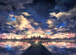 bridge cloud commentary_request lake no_humans original pippi_(pixiv_1922055) reflection scenery sky star_(sky) starry_sky sunrise tree water