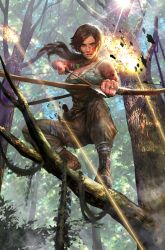 1girl blue_eyes bow brown_hair fire lara_croft long_hair looking_at_viewer realistic solo tank_top tomb_raider tree weapon