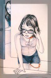 2girls artist_request bdsm blush breasts collar glasses loli masturbation multiple_girls nipples nipplest piercing short_shorts shorts standing vaginal_insertion vibrator voyeur yuri