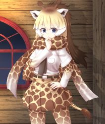 absurdres animal_ears blue_eyes giraffe_ears giraffe_horns giraffe_print giraffe_tail highres horns kakutasu_(akihiron_cactus) kemono_friends multicolored_hair necktie reticulated_giraffe_(kemono_friends) scarf skirt tail