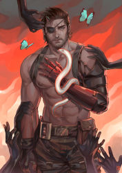 1boy abs alejandro_tio beard blue_eyes brown_hair butterfly cowboy_shot eyepatch facial_hair fingerless_gloves gloves highres male_focus mechanical_arm metal_gear_(series) metal_gear_solid_v muscle nipples pouch scar scar_across_eye shirtless single_glove snake solo stitches venom_snake watermark