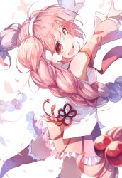 1girl boots braid detached_sleeves flower hair_bobbles hair_flower hair_ornament hairband hatsune_miku long_sleeves looking_at_viewer looking_back open_mouth petals pink_bow pink_eyes pink_hair sakura_miku shirt shuzi skirt smile solo thigh_boots thighhighs twin_braids vocaloid wide_sleeves