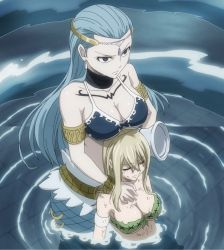 2girls aqua_hair aquarius aquarius_(fairy_tail) bare_shoulders blonde_hair blue blue_eyes breasts brown_eyes cleavage dirty fairy_tail hair highres large_breasts long_hair lucy_heartfilia mermaid monster_girl multiple_girls screencap sitting stitched tagme water