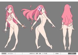 1girl bangle bangs bracelet breasts character_sheet flower hair_flower hair_ornament jewelry long_hair me!me!me! nipples nude official_art parted_bangs pink_hair red_eyes smile solo
