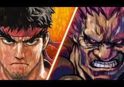 2boys black_hair capcom column_lineup dark_skin eyebrows facial_hair glowing glowing_eyes gouki headband looking_at_viewer multiple_boys murata_yuusuke official_art ryuu_(street_fighter) street_fighter stubble thick_eyebrows