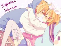 1boy 1girl 64hijiki aqua_hair blue_skirt blush blush_stickers brother_and_sister character_name character_pillow closed_mouth eyes_closed forehead-to-forehead from_side hair_ornament hair_ribbon hairclip hatsune_miku heart hood hooded_track_jacket hug jacket kagamine_len kagamine_rin parted_lips pink_legwear pleaded_skirt profile ribbon short_hair siblings skirt smile solid_oval_eyes thighhighs track_jacket vocaloid white_ribbon